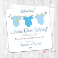 Blue Vest Line Baby Boy Birth Announcement Cards