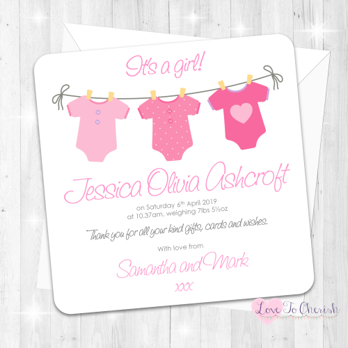 Pink Vest Line Baby Girl Birth Announcement Cards