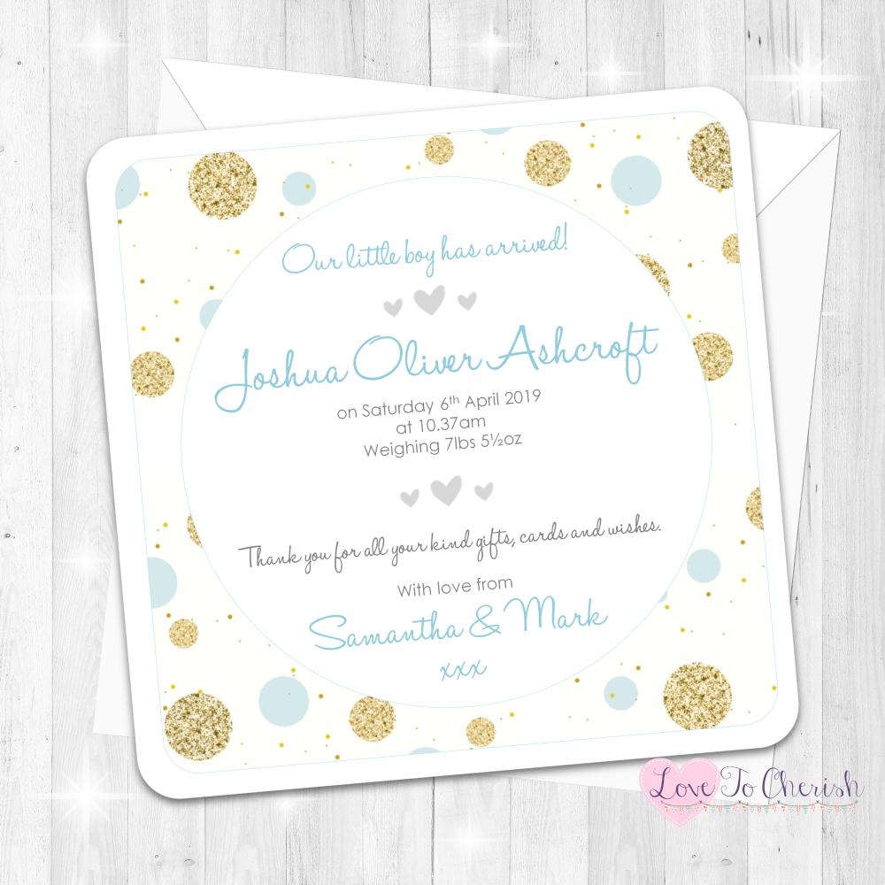 Polka Dot - Blue Baby Boy Birth Announcement Cards