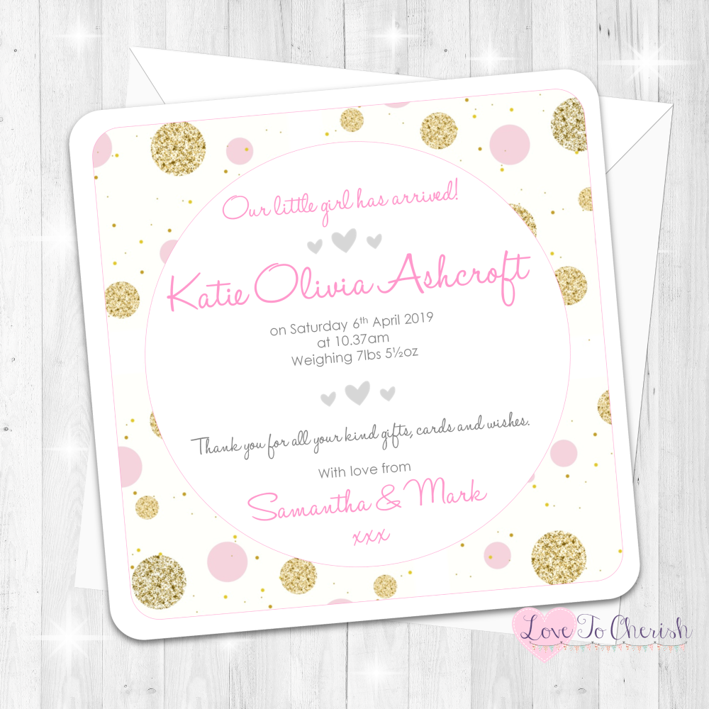 Polka Dot - Pink Baby Girl Birth Announcement Cards