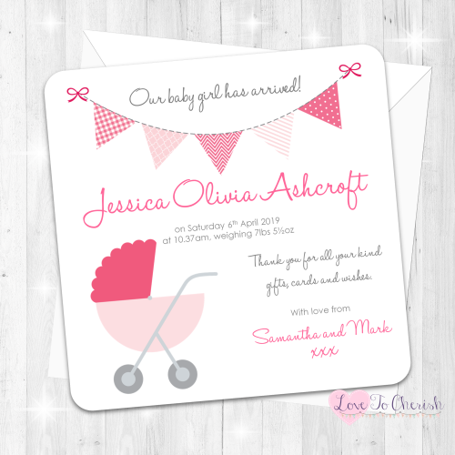 Pram/Stoller Pink Baby Girl Birth Announcement Cards