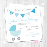 Pram/Stoller Blue Baby Boy Birth Announcement Cards