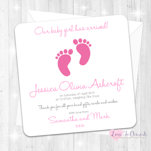 Tiny Feet Pink Baby Girl Birth Announcement Cards