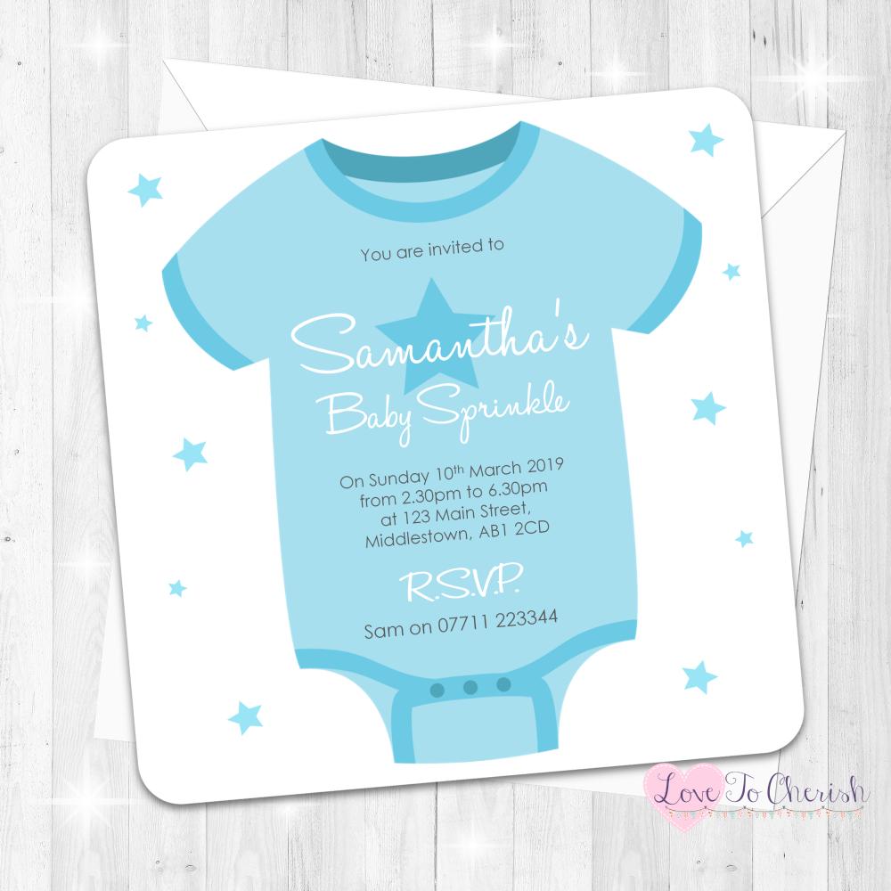 Baby Vest Invitations - Blue - Baby Sprinkle Design