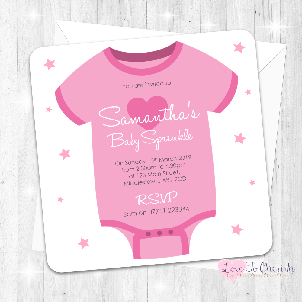 Baby Vest Invitations - Pink - Baby Sprinkle Design