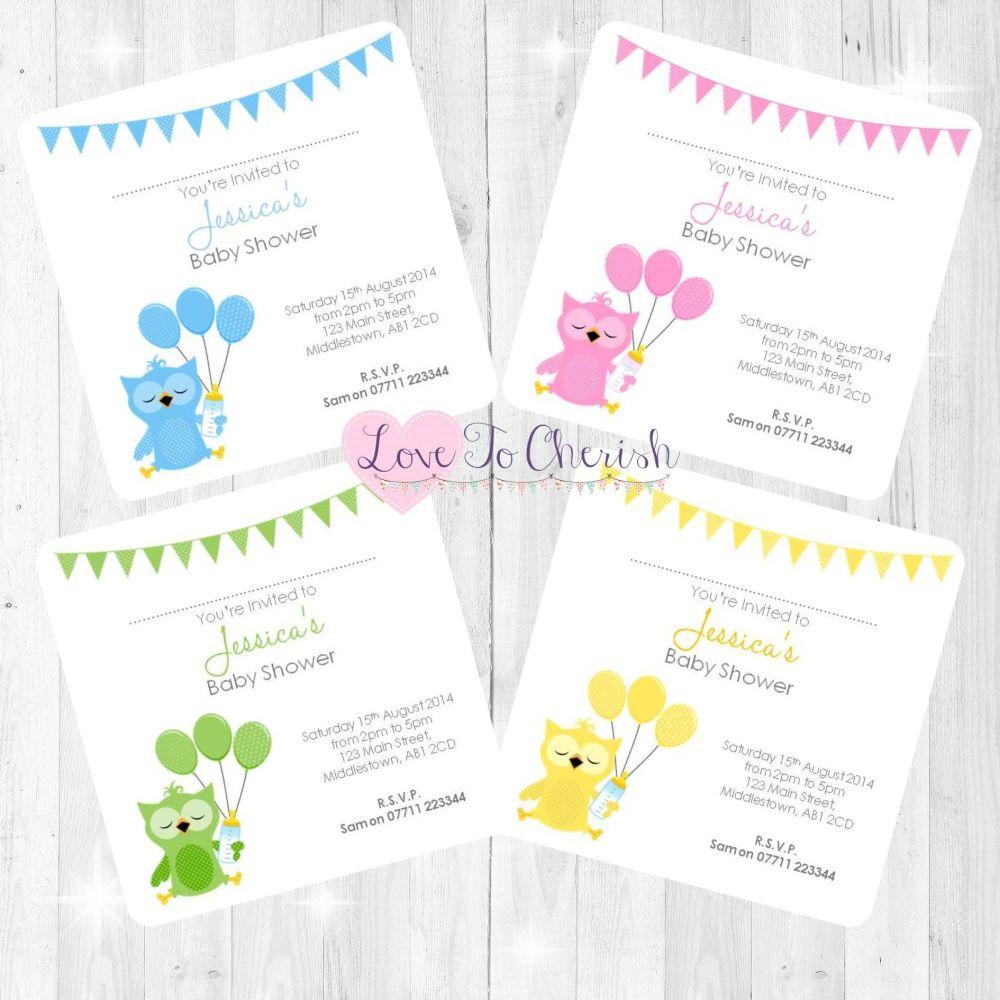 Cute Owl Invitations - Baby Shower Design