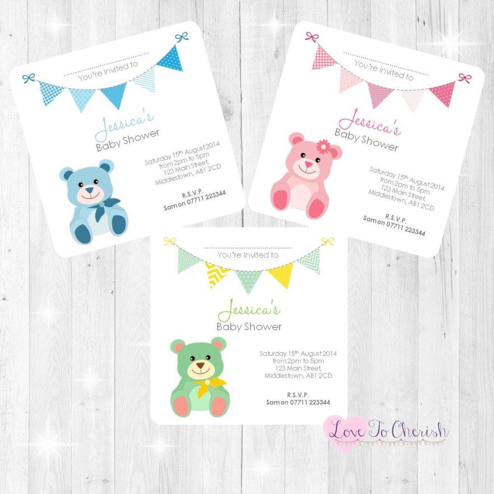 Cute Teddy Bear Invitations - Baby Shower Design