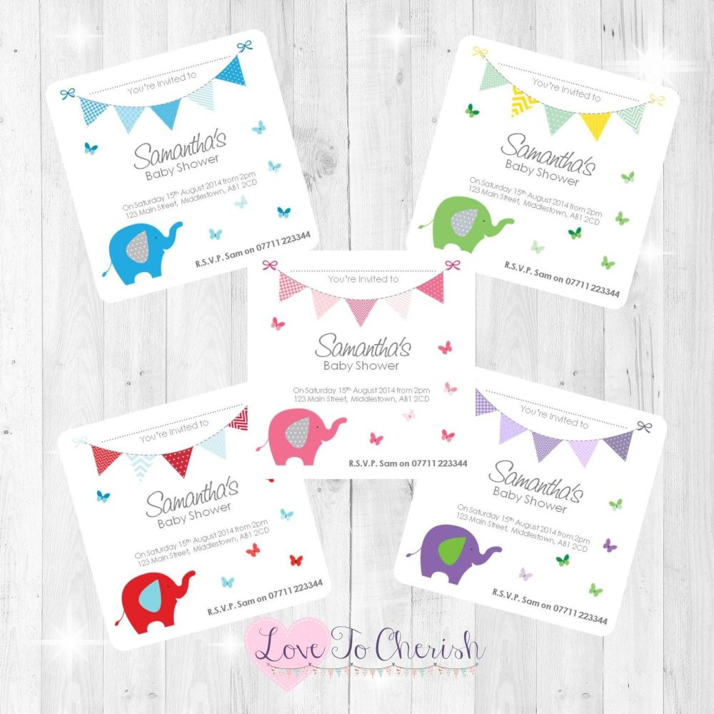 Elephant & Butterflies Thank You Cards - Baby Shower Design