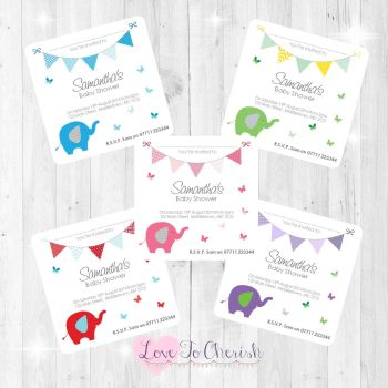 Elephant & Butterflies Thank You Cards - Baby Shower Design