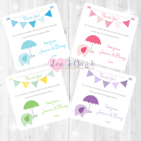 Elephant with Umbrella Thank You Cards - Baby Shower Design