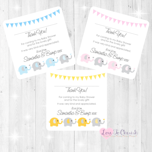 Elephants & Hearts Thank You Cards - Baby Shower Design