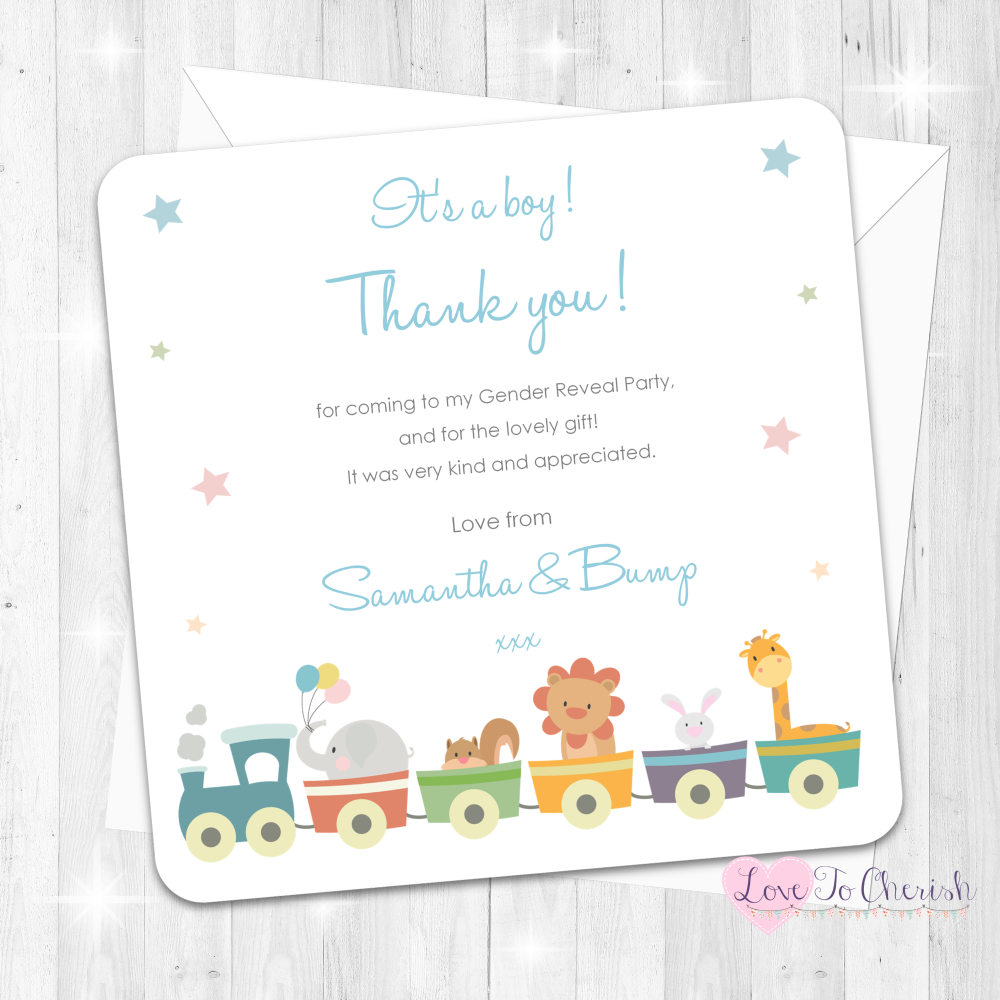 Jungle Animals Train It's A Boy Thank You Cards - Gender Reveal Party Desig