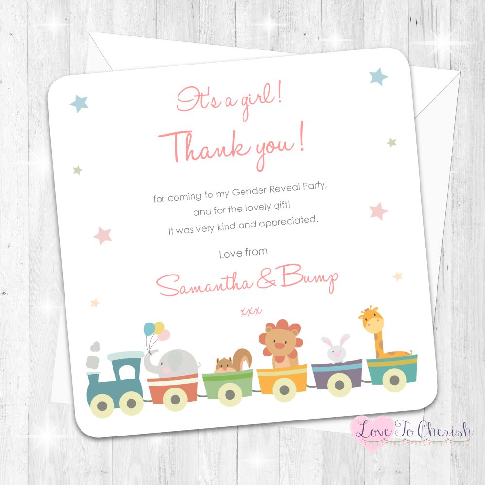 Jungle Animals Train It's A Girl Thank You Cards - Gender Reveal Party Desi