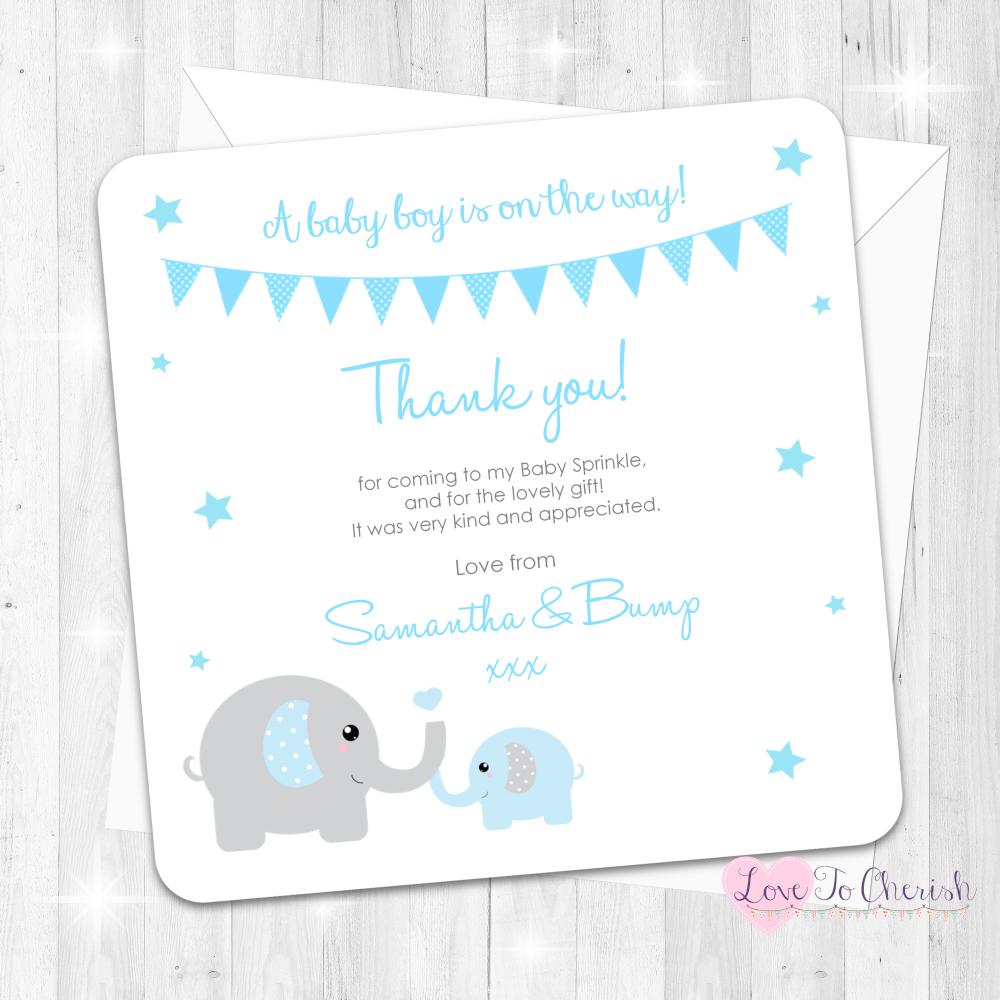 Mummy & Baby Elephants Thank You Cards - Blue - Baby Sprinkle Design