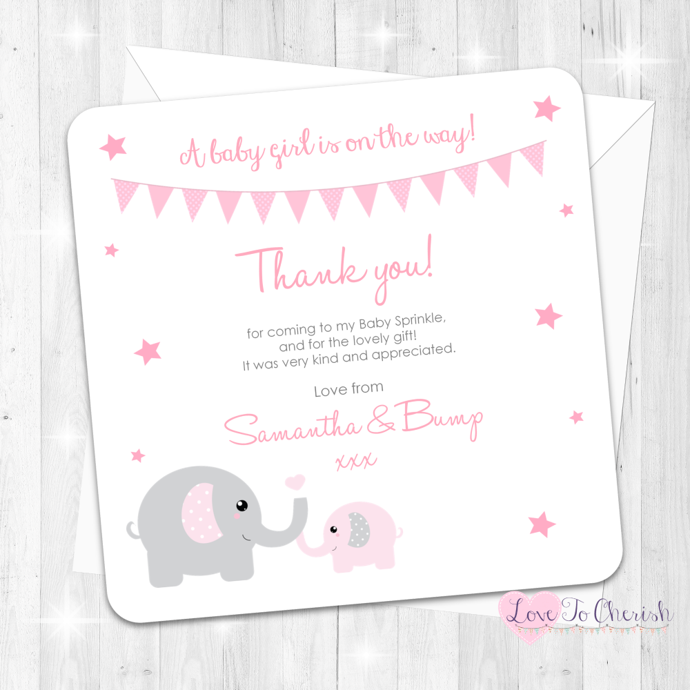 Mummy & Baby Elephants Thank You Cards - Pink - Baby Sprinkle Design