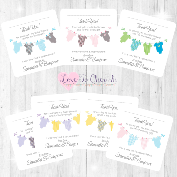 Onsie/Vest Clothes Line Thank You Cards - Baby Shower Design