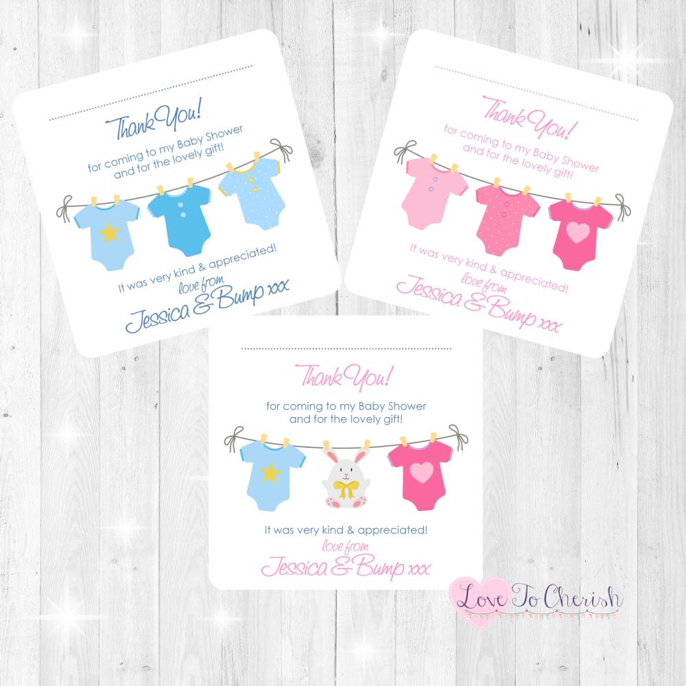 Pink & Blue Vest Line Thank You Cards - Baby Shower Design