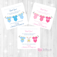 Pink & Blue Vest Line Thank You Cards - Baby Shower Design