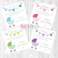 Pram/Stoller Thank You Cards - Baby Shower Design