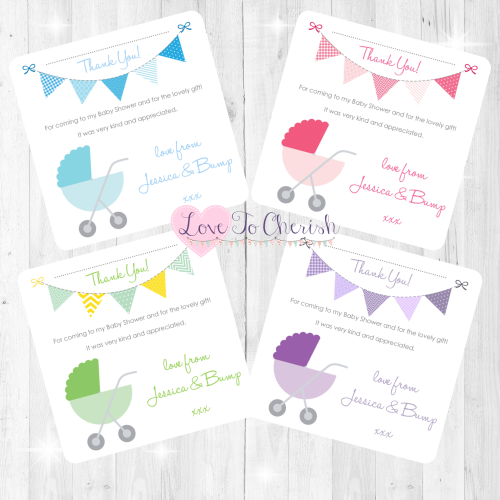 Pram/Stoller Thank You Cards - Baby Shower Design