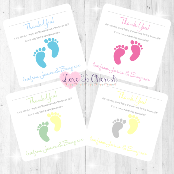 Tiny Feet Thank You Cards - Baby Shower Design