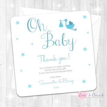 Oh Baby Thank You Cards - Blue - Baby Sprinkle Design