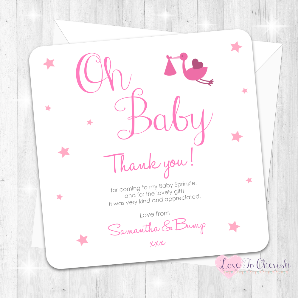 Oh Baby Thank You Cards - Pink - Baby Sprinkle Design
