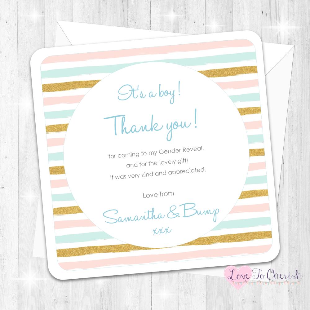 Pink & Blue Stripe - It's A Boy Thank You Cards - Gender Reveal Design