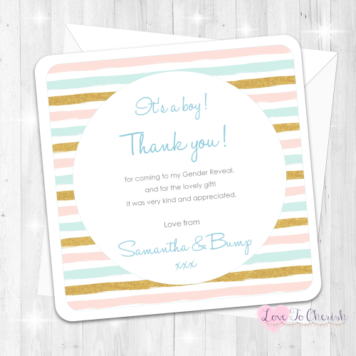 Pink & Blue Stripe - It's A Boy Thank You Cards - Gender Reveal Design