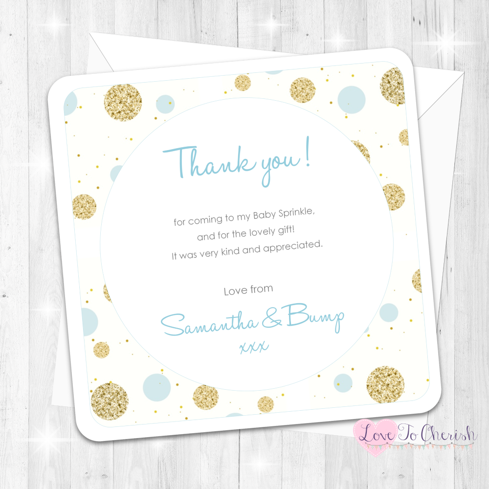 Polka Dot Thank You Cards - Blue - Baby Sprinkle Design
