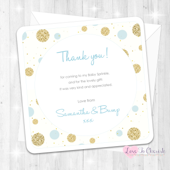 Polka Dot Thank You Cards - Blue - Baby Sprinkle Design