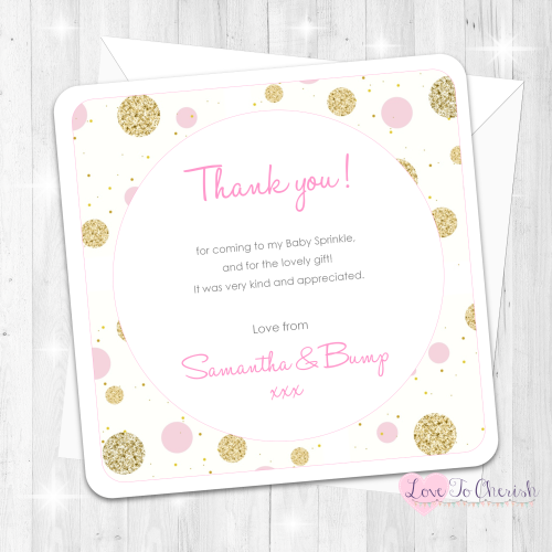Polka Dot Thank You Cards - Pink - Baby Sprinkle Design
