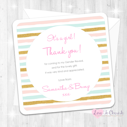 Pink & Blue Stripe - It's A Girl Thank You Cards - Gender Reveal Design