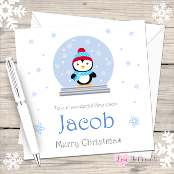 Boy Penguin in Snowglobe Personalised Christmas Card