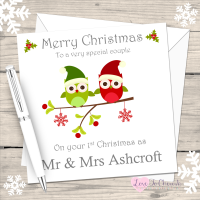 Christmas Owls Mr & Mrs Personalised Christmas Card (Mr & Mr or Mrs & Mrs)