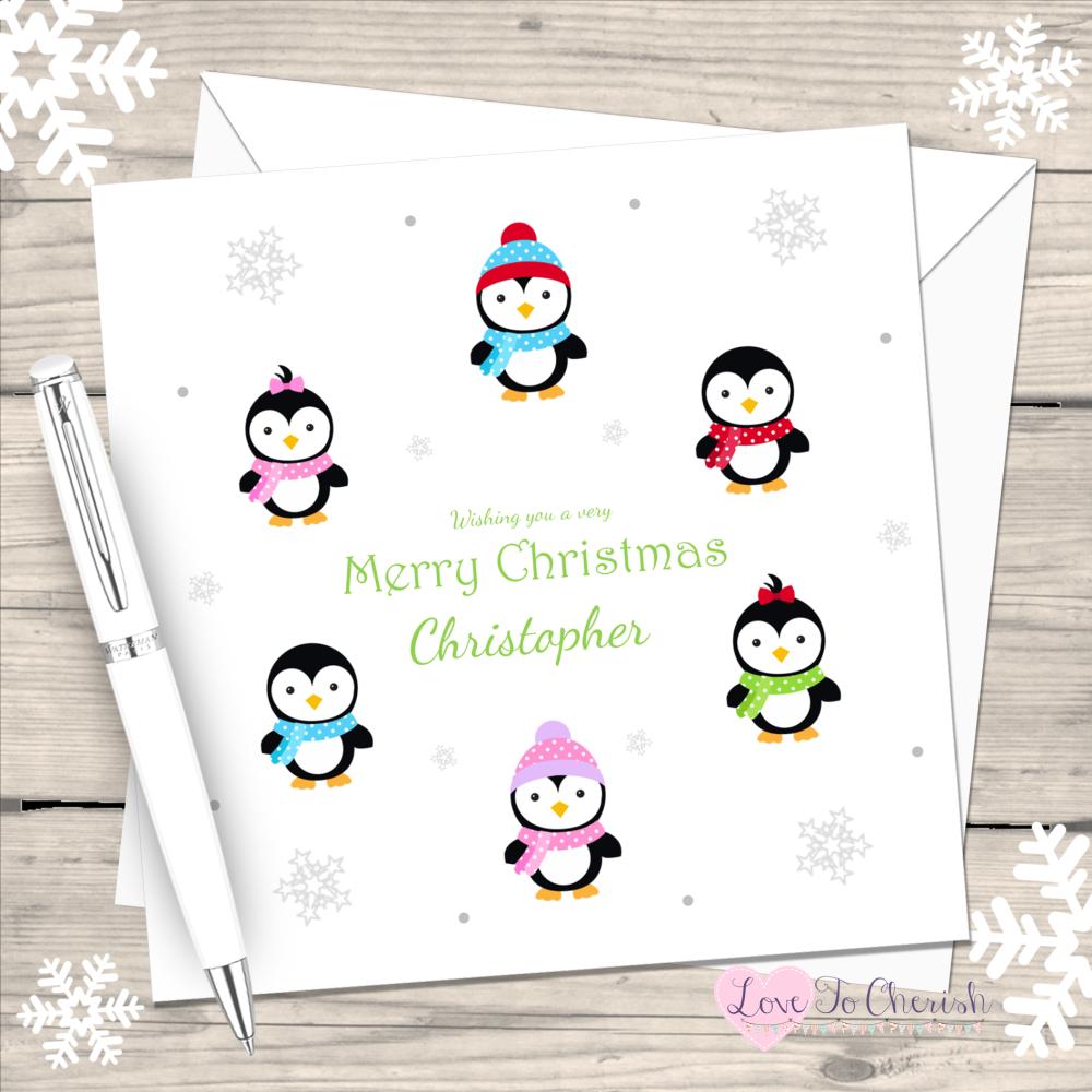 Cute Penguins Handmade Christmas Card