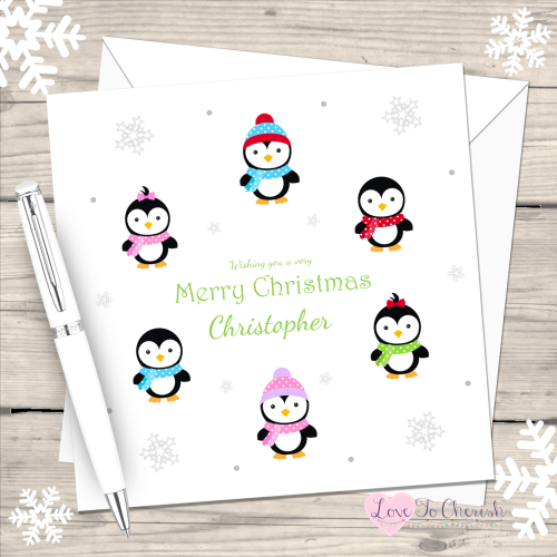 Cute Penguins Handmade Christmas Card