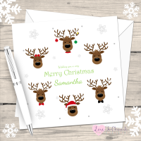 Cute Reindeers Personalised Christmas Card