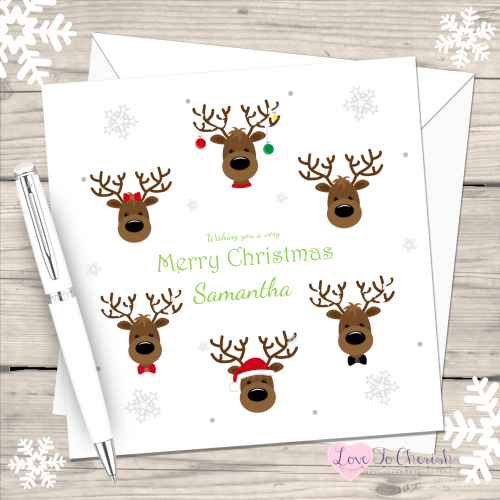 Cute Reindeers Handmade Christmas Card