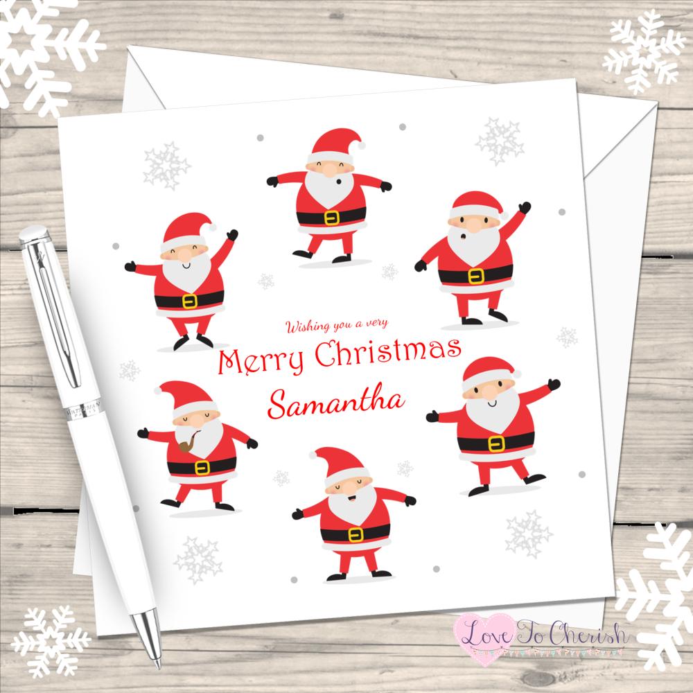 Dancing Santas Handmade Christmas Card