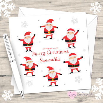 Dancing Santas Personalised Christmas Card