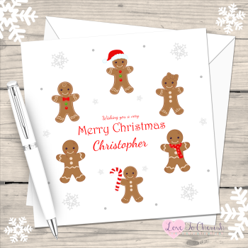 Gingerbread Boys & Girls Personalised Christmas Card