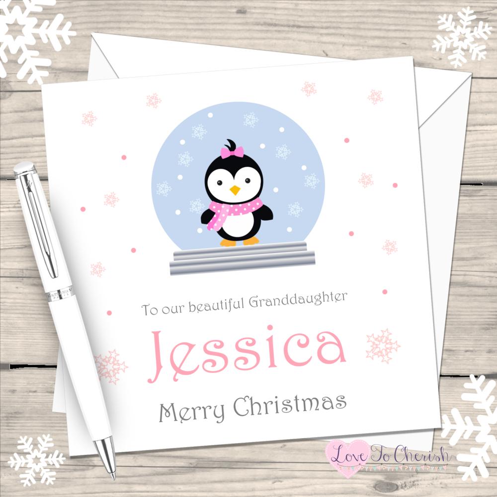 Girl Penguin in Snowglobe Handmade Christmas Card