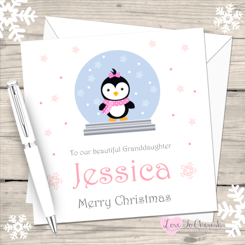 Girl Penguin in Snowglobe Handmade Christmas Card