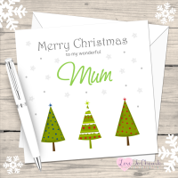 Green Christmas Trees Personalised Card