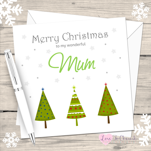 Green Christmas Trees Handmade Card