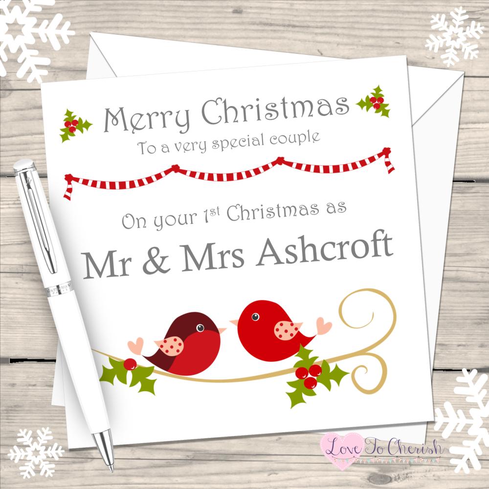 Love Birds Couples Handmade Christmas Card