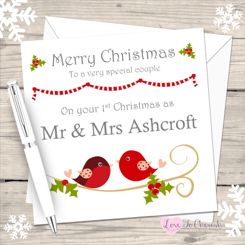 Love Birds Couples Handmade Christmas Card