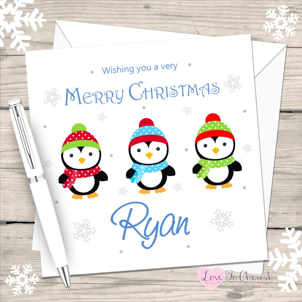 Penguin Boys Handmade Christmas Card