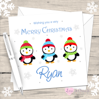 Penguin Boys Personalised Christmas Card